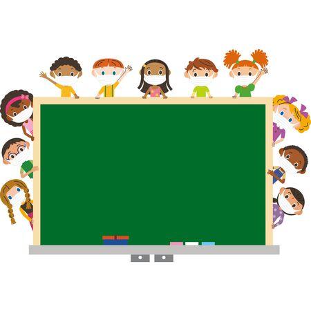 Children wearing masks and teaching Ilustração