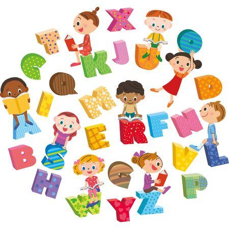 English children study school lessons