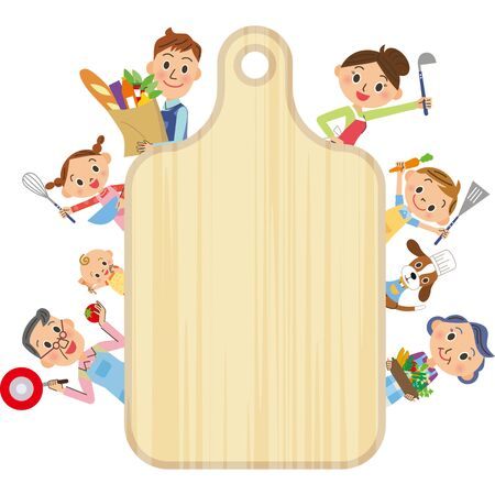 Cuisine cutting board vertical frame with good friends three generations of family Ilustração