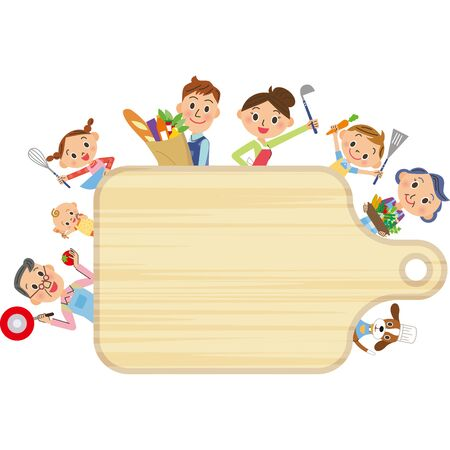 Cutting board horizontal frame for cooking with a good third generation family