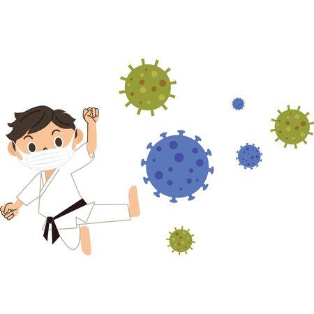 Men fighting against viruses Ilustração