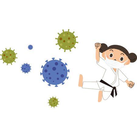 Fighter girl fighting virus Ilustração