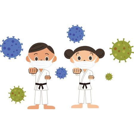 Men and women fighting against viruses