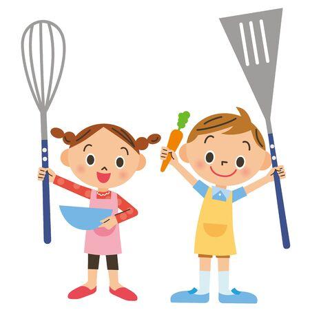 Children enjoying cooking