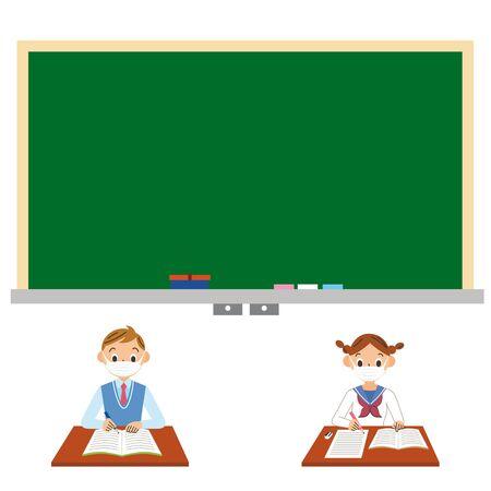 Students teach at infection prevention measures at school Ilustração