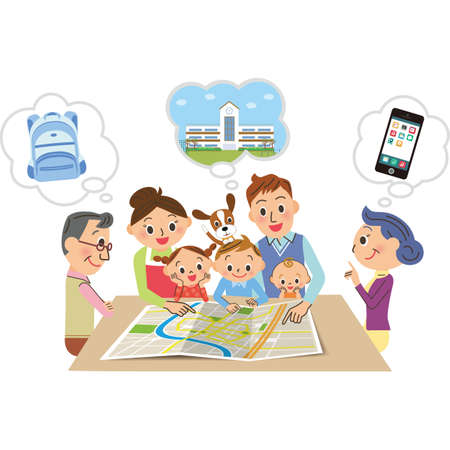 Consult about evacuation sites when a family disaster strikes Ilustração