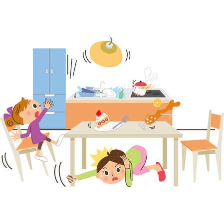 Disaster Earthquake Kitchen Falling Meal Ilustração