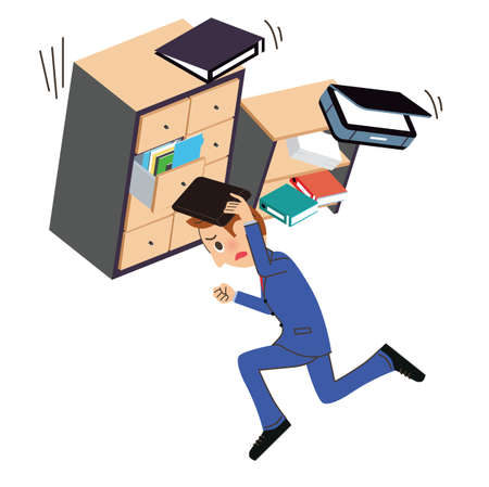 Escape office workers running in earthquake disaster
