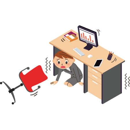 Office worker hides under a desk in an earthquake disaster Ilustração