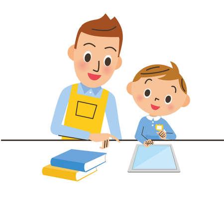 Male nursery teacher, child and tablet