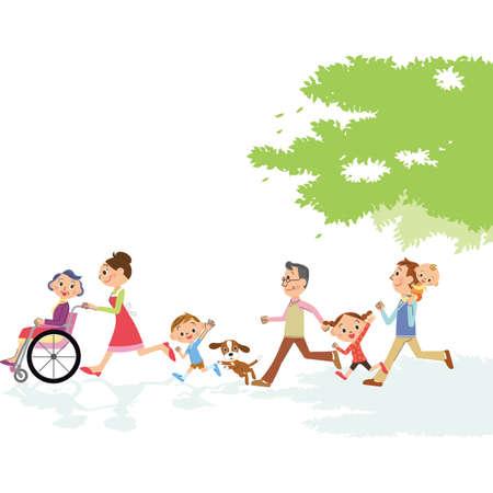 Nursing grandma in a three-generation family