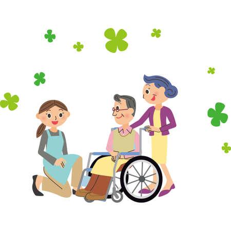 Conversation of women nursing staff and grandfather in wheelchair Ilustração
