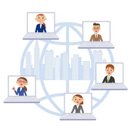 Business Building Street Network Colleagues Ilustração