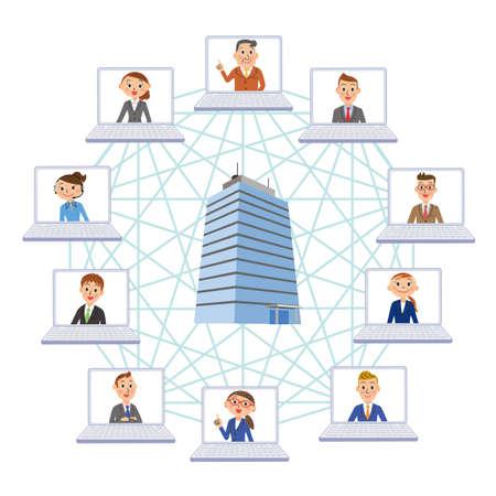 Corporate Telework Remote World Business Ilustração