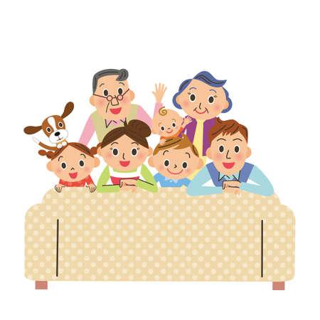 Sofa three generation family home time happy Ilustração