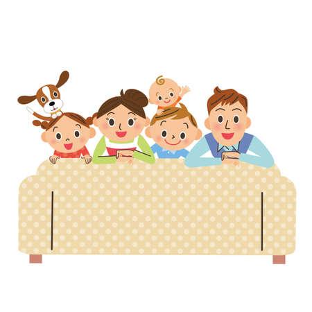 Sofa family home time happy Ilustração