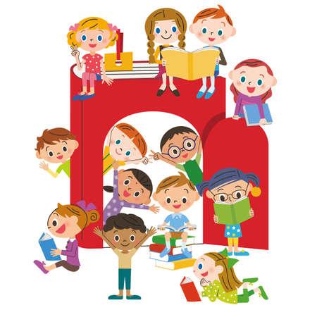 Children who love books Ilustração