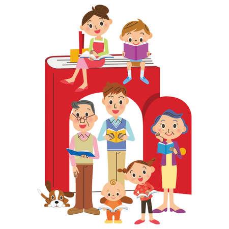 Family love books Ilustração