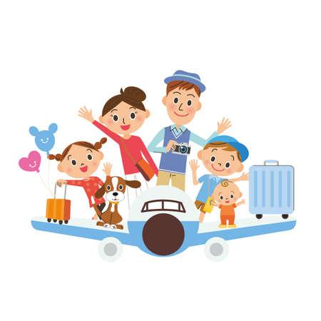 Airplane trip, 3 generation family, fun lifestyle