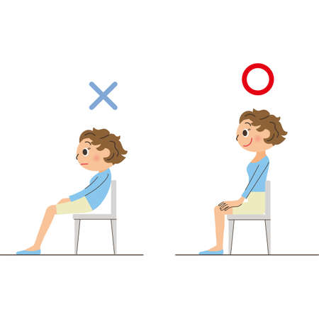 Correct and bad posture to sit on a chair Ilustração