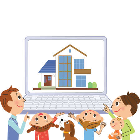 Family searching for a house on a computer
