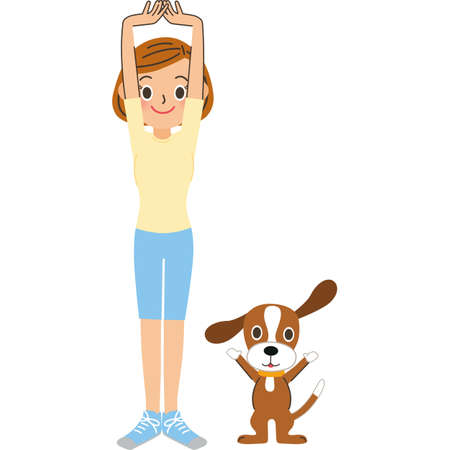 Preparatory exercises with woman and pet