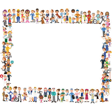 People group, working people group, illustration frame