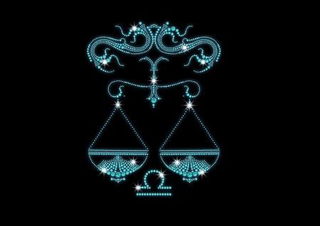 fake diamond: signs of the zodiac of diamonds libra Illustration