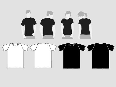 t shirt model: nero-bianco e modelli di t-shirt per gli uomini e le donne