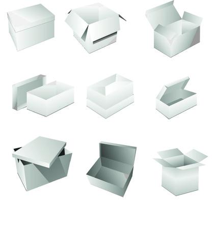 white boxes: Set vector blank white boxes isolated on white