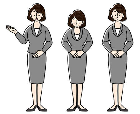 Businesswoman bowing and ushering