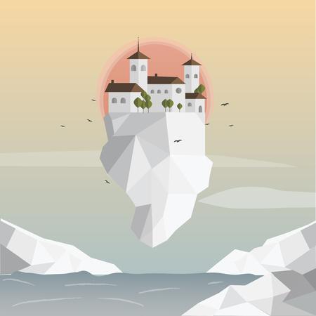 Drijvend ijsberglandschap. Het landschap van de stad. Het landschap van de aardzonsopgang. Vectorillustratie.