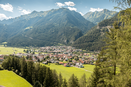 Mountains, forests and a small village Stock Photo