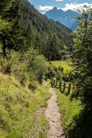 Mountains, forests and a lonley path Stock Photo
