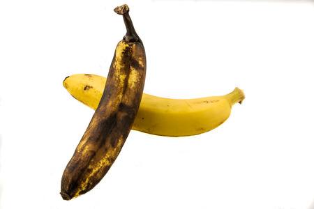 One yellow banana and one older brown banana with white background