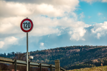 Traffic sign which means 120 kilometers per hour Standard-Bild