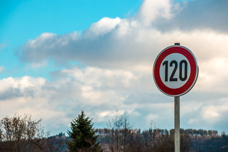 Traffic sign which means 120 kilometers per hour Stock Photo