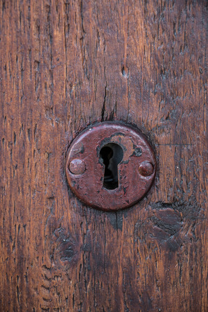 Security lock for an old wooden door in the garden Banco de Imagens - 100374965