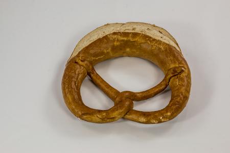 Old German pretzels on white background