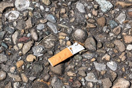 Pollution by cigarette stub thrown on the ground Banco de Imagens