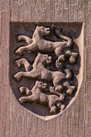 Coat of arms made of red sandstone