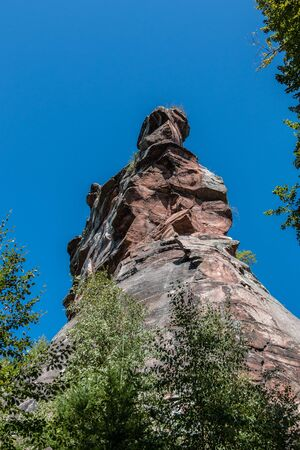 High and big rock for climbing and the blue sky