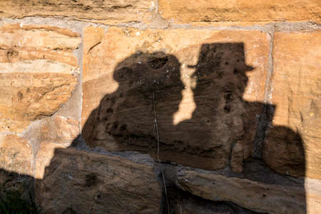 Shadows of a pair of lovers background.