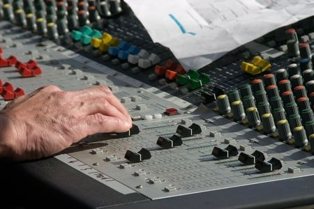 sound or music mixer in action photo