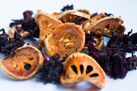 dried Roselle and dried bael  photo