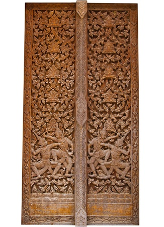 ancient wood carvings door photo