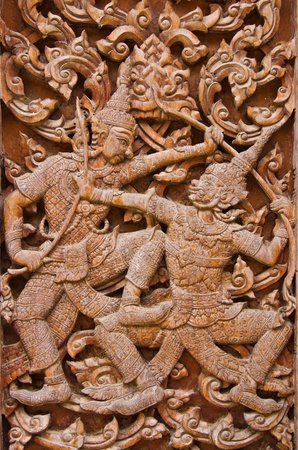 ancient wood carvings  photo