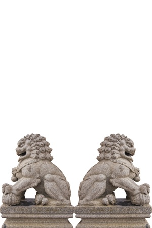 chinese lion statue in white background