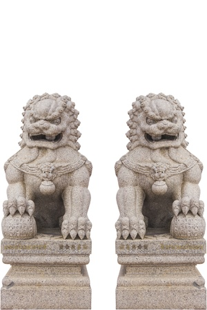 chinese lion statue in white background photo