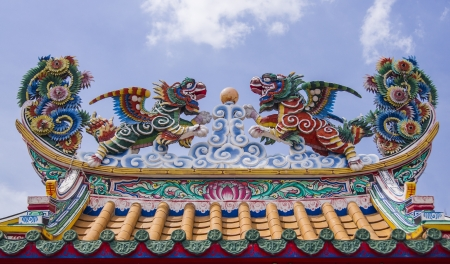 dargon unicon on the chinese temple photo